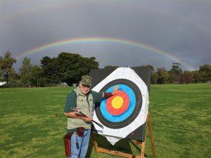 Rainbow over archery field