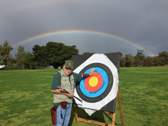 Rainbow over archery field